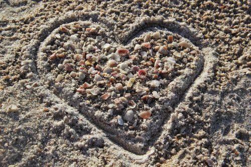 heart in sand i love you sandherz