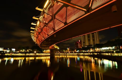 heart of love river in kaohsiung night view light trails