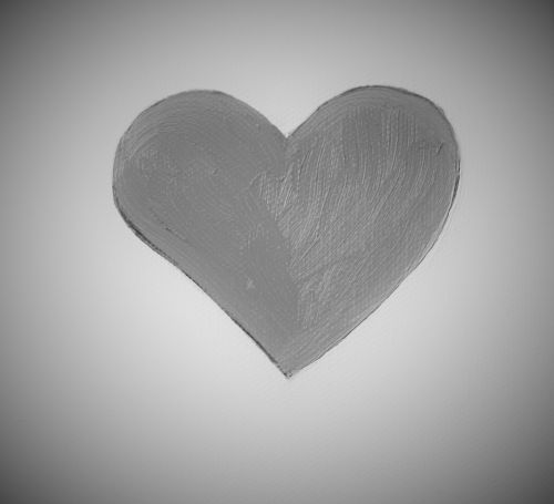 Heart Painted On Canvas, Black And