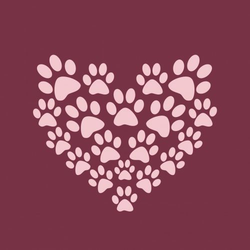 Heart Paw Print Background