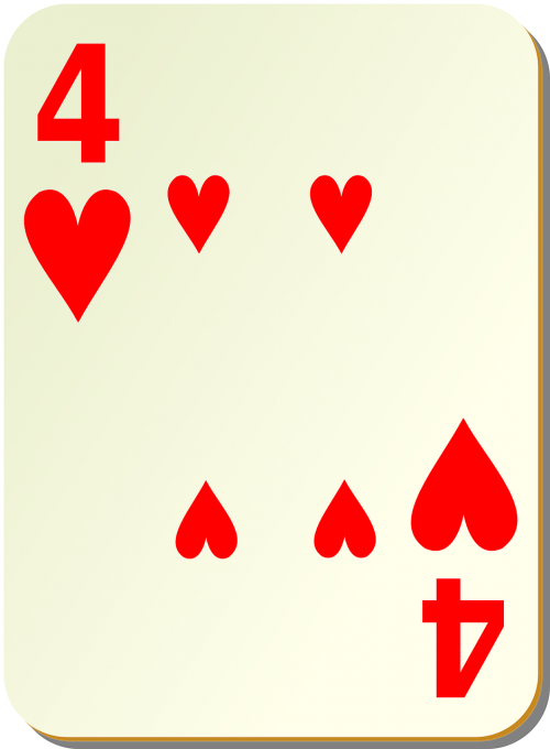 hearts playing cards four