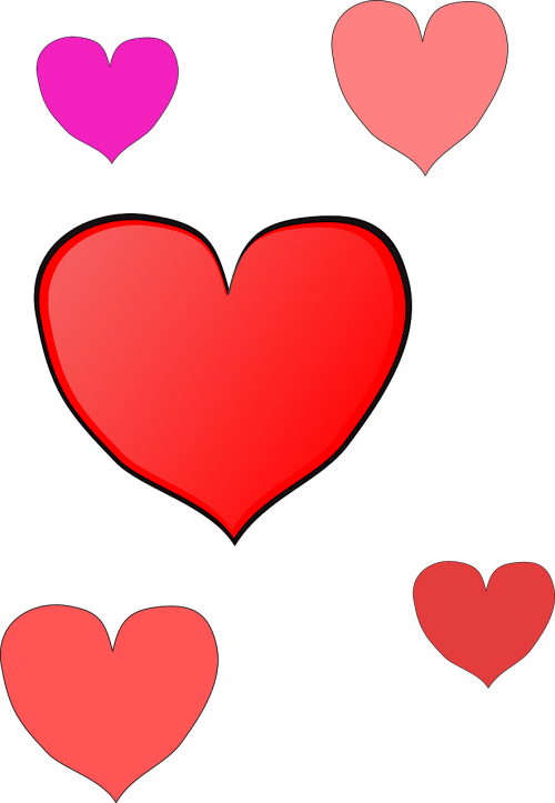 hearts red pink