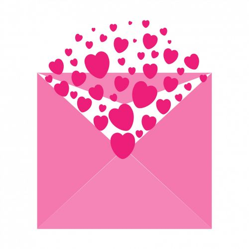 Hearts Envelope Pink Clipart