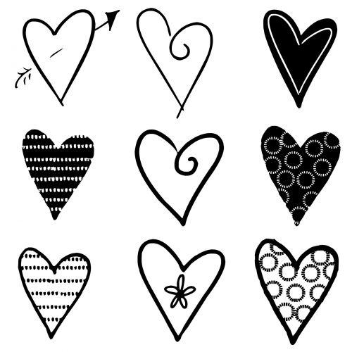 Hearts Silhouettes Black
