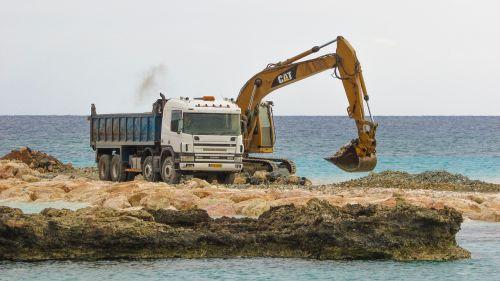 heavy machines digger truck