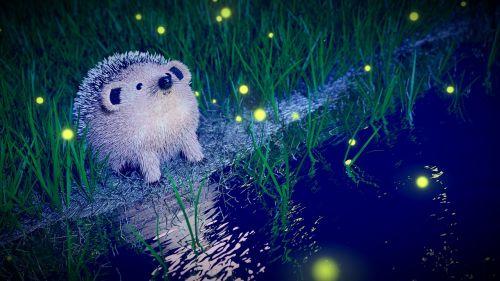 ežiukas,naktis,žvakidė,upė,blenderis,nocturne,gyvūnas,gamta,vaizdo sintezė,tapetai,atspindys,žolė,mėlynas,žalias,šviesa,mielas,vanduo,stebėti,svajonė,įsivaizduojama,3d,cad,modeliavimas,3d modeliavimas,apšvietimas,pakeitimas pasikeis,plaukų daleles,spinduliuotės dalelės,atspalvis,atvaizdavimas,ciklai,kompozicija,dalelės