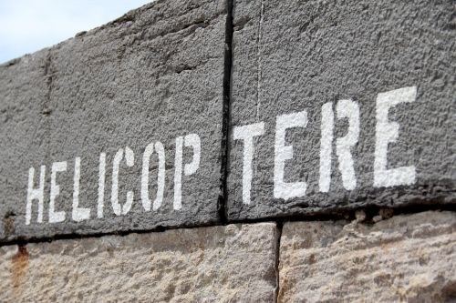helicopter wall typography