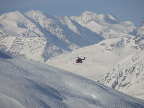 helicopter the alps snow