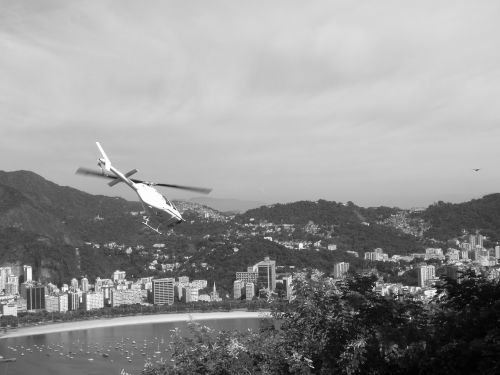 helicopter black and white landscape