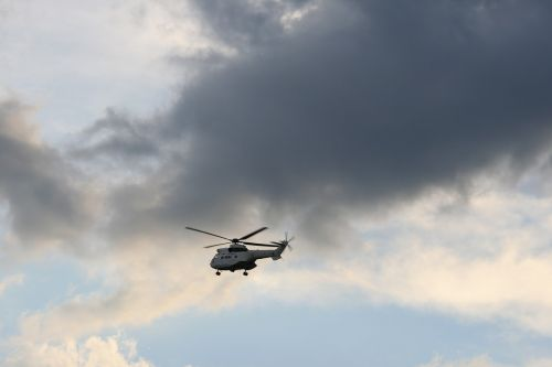 helicopter flying sky