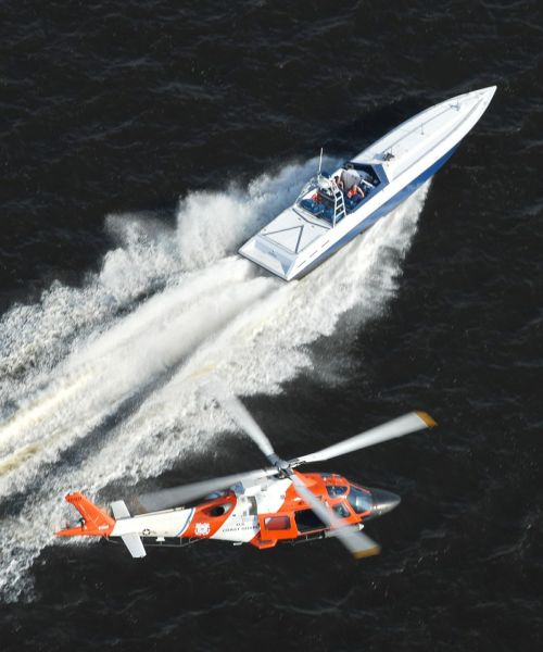 helicopter speedboat us coast guard