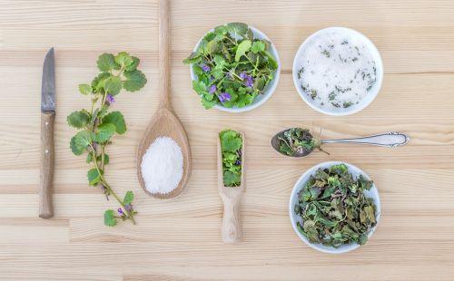 herbs salt spoon