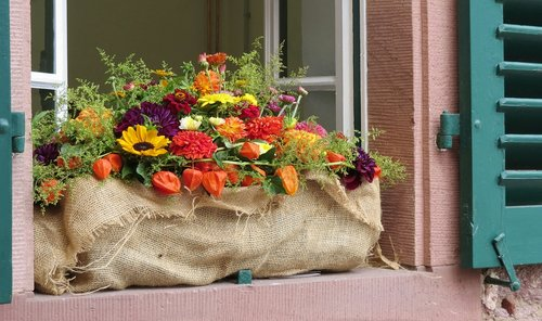 herbstdeko  flower box  window sill