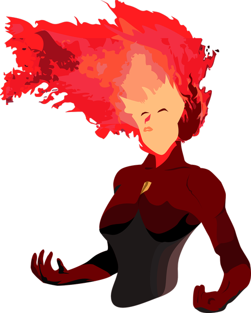 hero with hair on fire  woman with blazing hair  free customizable vector art