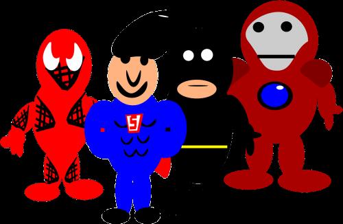 herojai,komiksas,animacinis filmas,žmogus-voras,batman,supermenas,Geležinis žmogus,nemokama vektorinė grafika