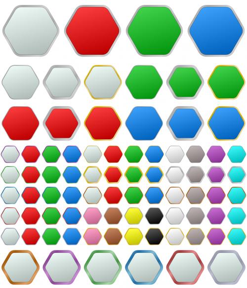 hexagon button metallic
