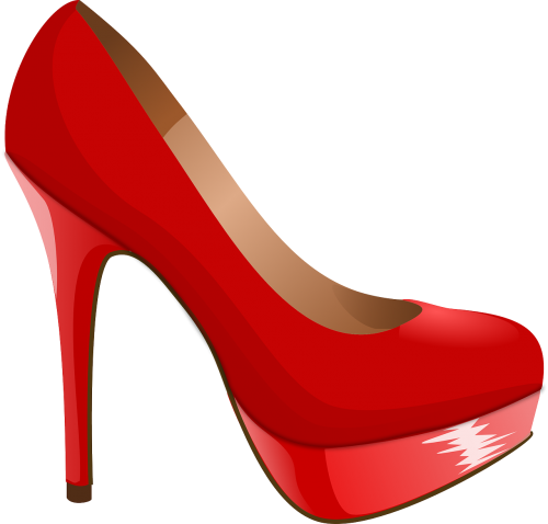 high heel shoe red