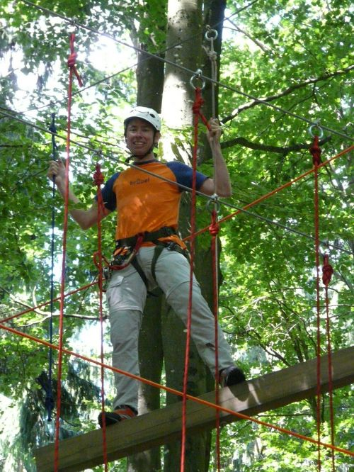 high ropes course man human
