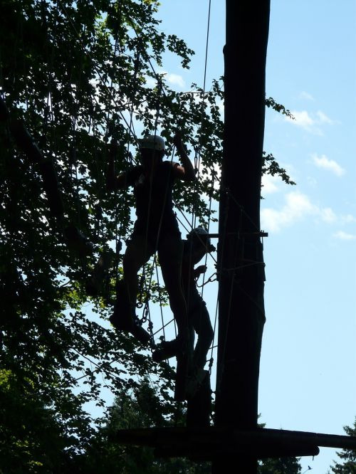 high ropes course obstacle climb