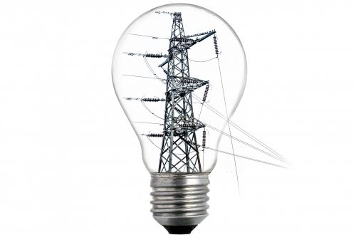 High-tension Power Line And Bulb