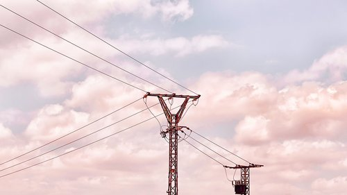 high-tension towers  cables  electricity