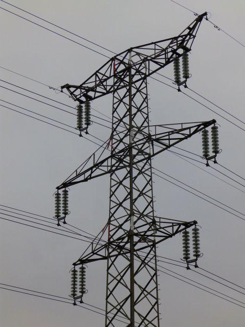 high voltage pylon transmission line