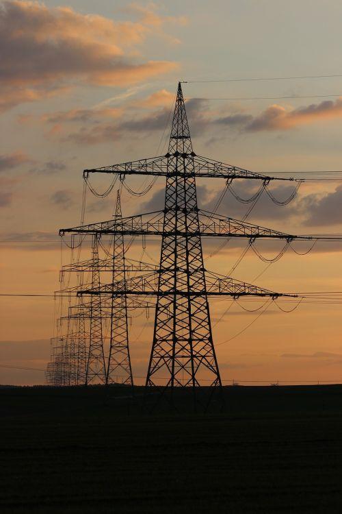 high voltage evening light twilight