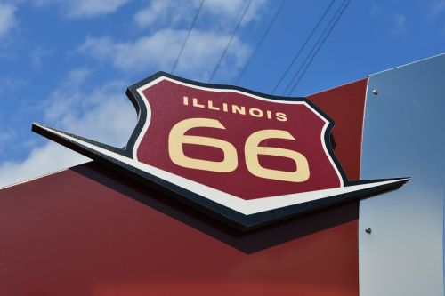highway,route 66,marker,road sign,illinois,mother road,usa,sign,road,historic,transportation,american,trip,tourism,history,famous,landmark,shield,states,scenic,66,vacation,vintage,travel,route,classic,symbol,nostalgia