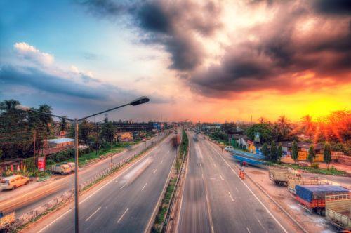 highway sunset suburb