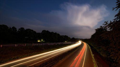 highway at night long exposure