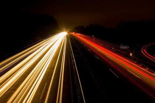 highway night photograph lights