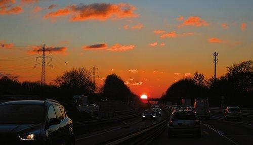 highway  traffic  sunset