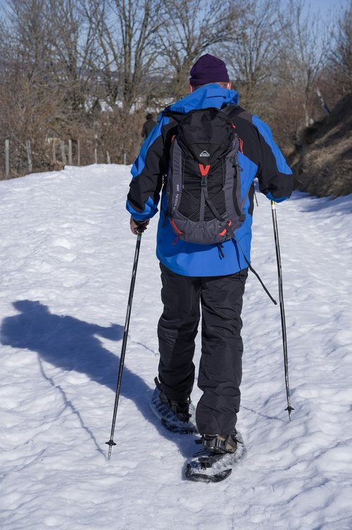 hiker  snowshoes  hiking