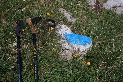 hiking poles signpost hiking