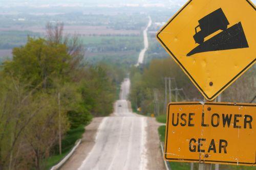 hill road warning sign