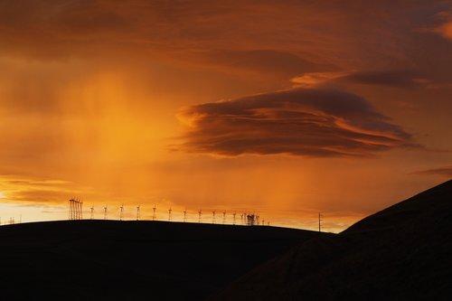 hill  wind turbine  cloud