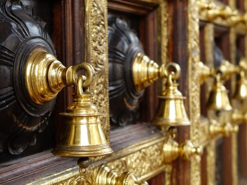 hindu temple bells wooden