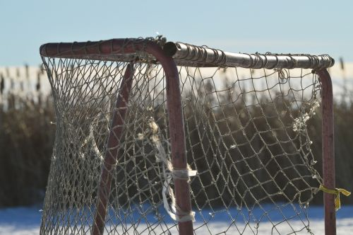 hockey net ice pond