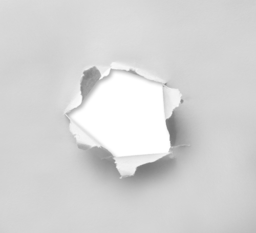 hole torn paper
