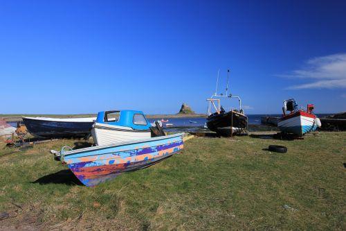 holy island northumberland coast fishing boats