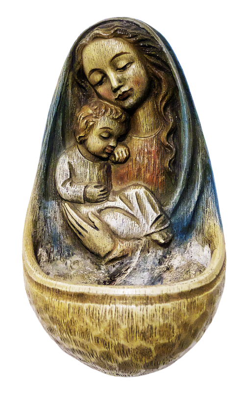 holy water container madonna ceramic