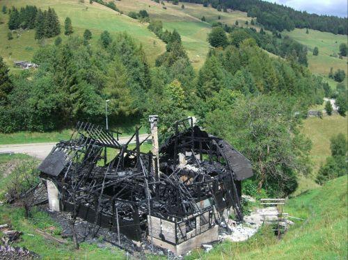 home burned down charred