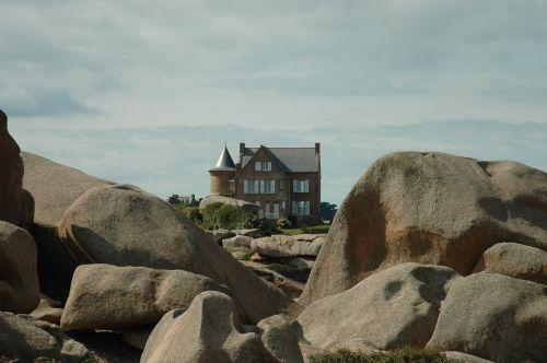 namai,Brittany,akmuo,granitas,côte darmor,angliškas kanalas,prie jūros,france,uolos pakrantė,dangus,vanduo,Rokas,užsakytas,šventė,kranto,jūra