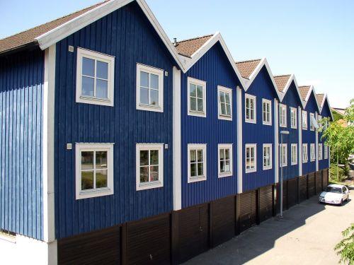 home terraced houses blue