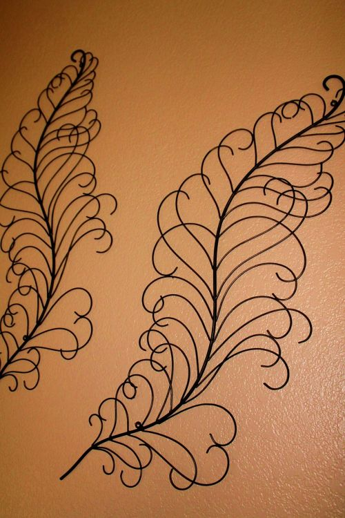 home decor feathery metal art