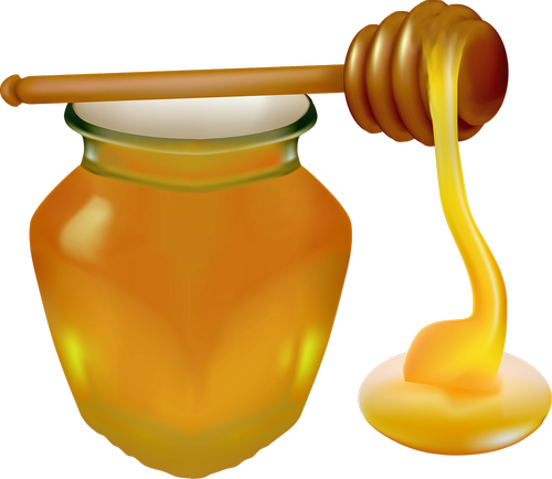 honey  jar  honey spoon