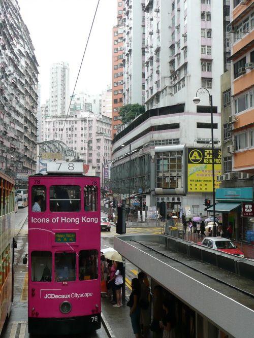 hong kong double decker street canyon