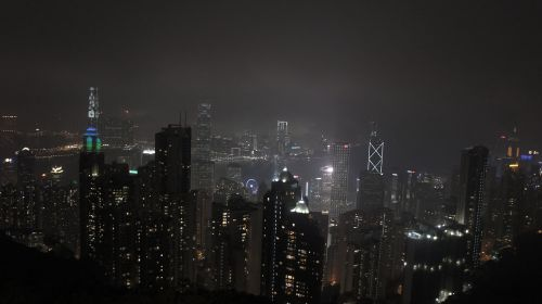 hong kong central night landscape