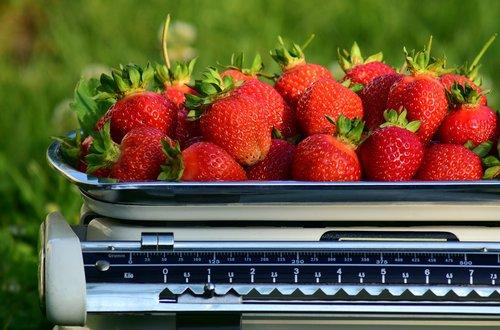 horizontal  strawberries  weigh