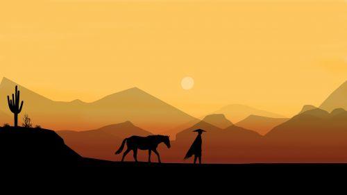 horse man desert